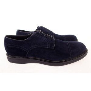 BRIONI New 7 13 Navy Suede Cap Toe Brogues Lace Up